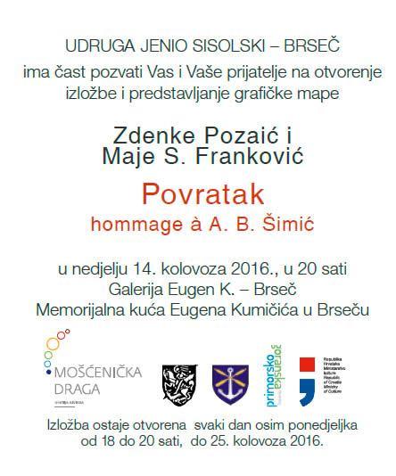 Otvorenje izložbe i predstavljanje grafičke mape Zdenke Pozaić i Maje S Franković